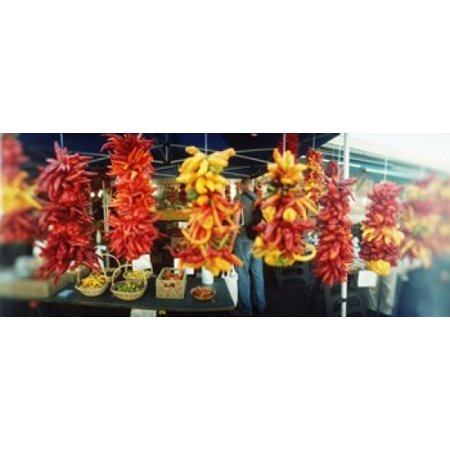 Strands Of Chili Peppers Hanging In A Market Stall Pike Place Market Seattle King County Washington State Usa Poster Print