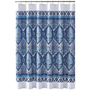 Bohemian Style Fabric Shower Curtain for Bathroom Kaleidoscope Design in Navy Teal Aqua Gray White 72IN x72 INNavy