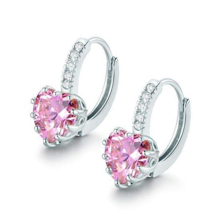 CLEARANCE - Heart Shaped Blushing Pink Diamond CZ Solitaire Hoop Earrings White Gold