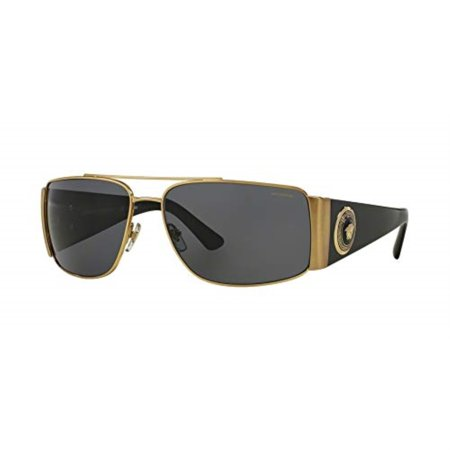 Versace Mens Sunglasses (VE2163) Gold/Grey Metal - Polarized - (Mens Versace Sunglasses)