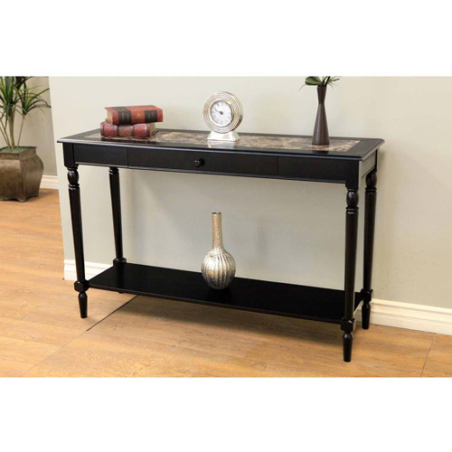 Home Craft Faux Marble Foyer Hall Table With Drawer And Shelf, Black