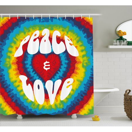 70s Party Shower Curtain, Peace and Love Groovy Sixties Tie Dye Effect Heart Shaped Abstract Rainbow Print, Fabric Bathroom Set with Hooks, Multicolor, by Ambesonne