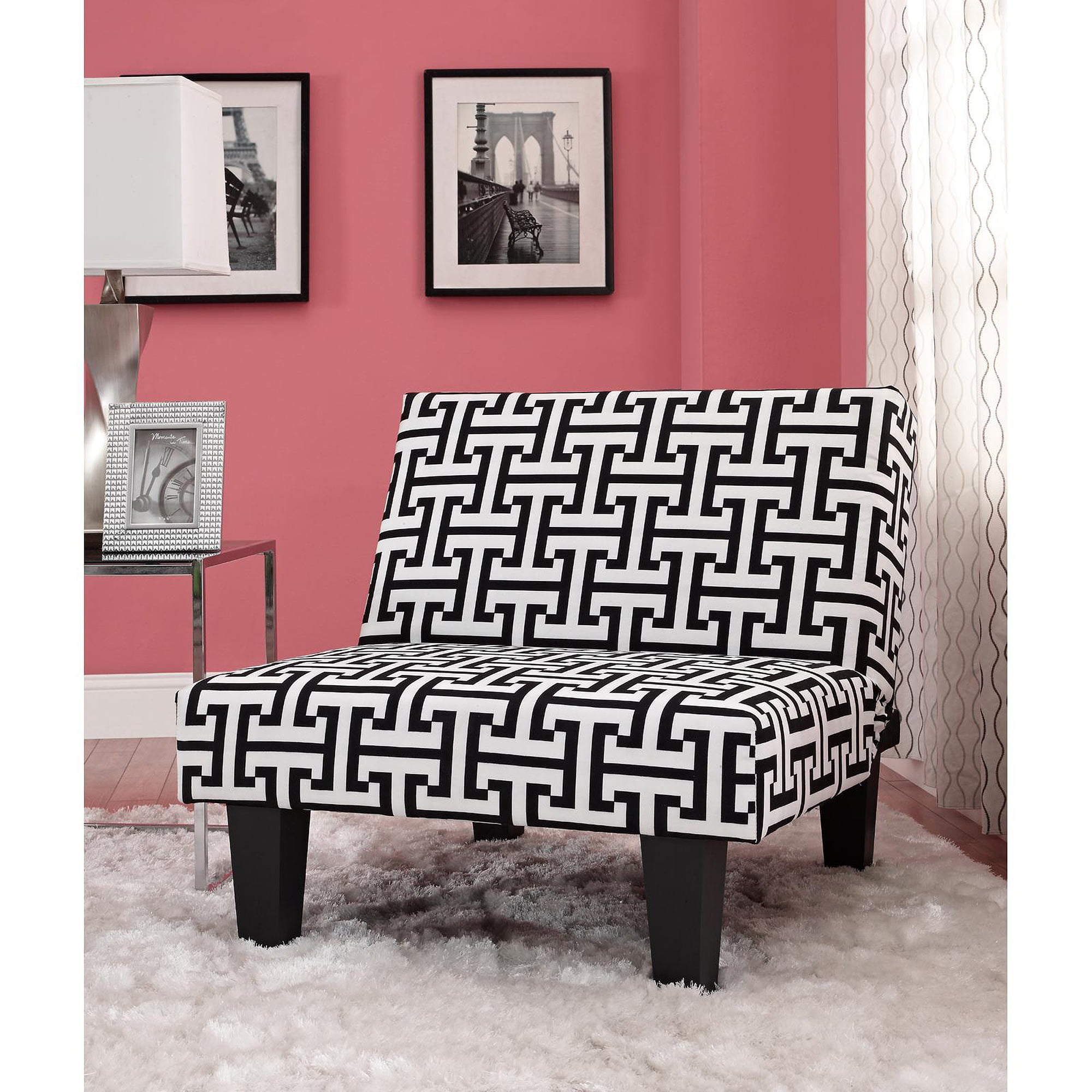 Black chair and white chair - Kebo Chair Black And White Geometric Pattern With Dark Leg