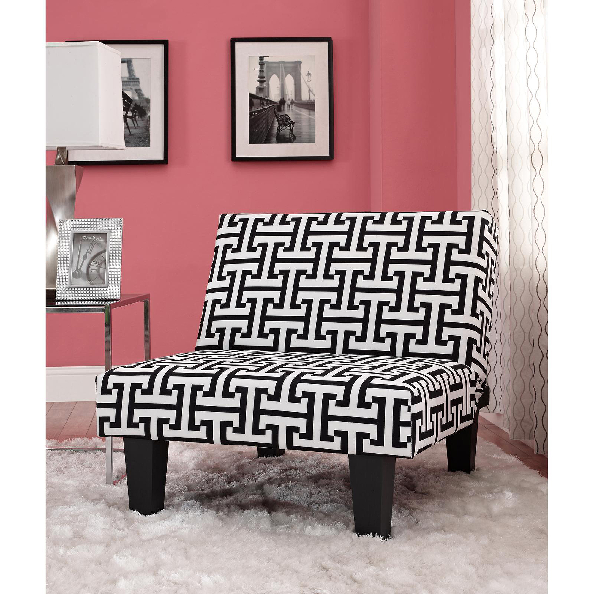 Kebo Chair, Black and White Geometric Pattern with Dark Leg