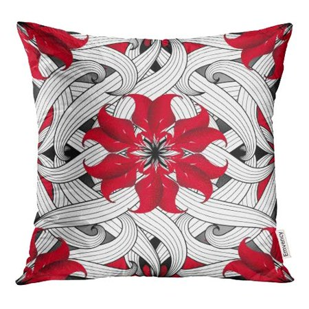 ECCOT Intricate Floral Ornamental Abtract Line Tracery Black and White Swirls Striped Leaves Pillow Case Pillow Cover 18x18 inch](Black And White Swirl)