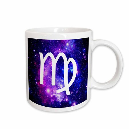 Virgo Sign - 3dRose Virgo star sign on purple space background - zodiac horoscope symbol - Ceramic Mug, 11-ounce