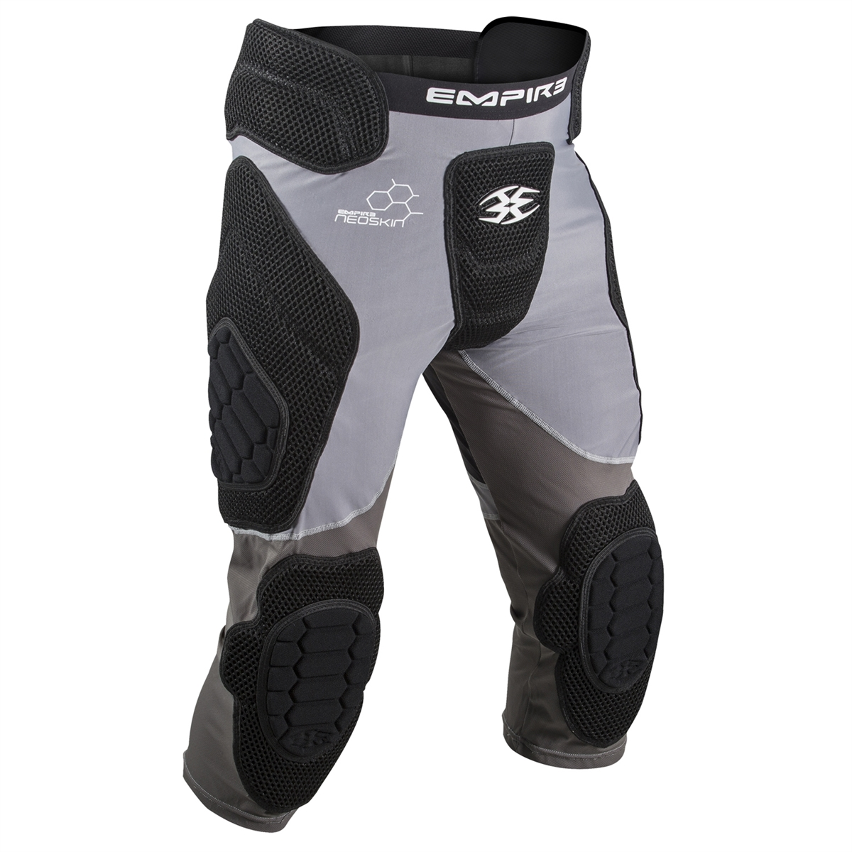 Empire Paintball NeoSkin Slide Short with Knee Pads F6 - Black/Silver - Youth