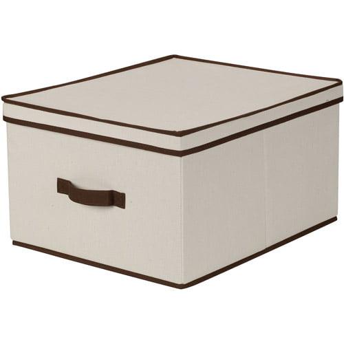 Household Essentials Jumbo Canvas Storage Box with Brown Trim