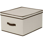 Household Essentials Jumbo Canvas Storage Box with Brown Trim
