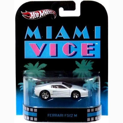 "White FERRARI F512M 2013 Hot Wheels Retro Series Movie ""Miami Vice"" 1:64 Scale Collectible Die Cast... by Mattel"
