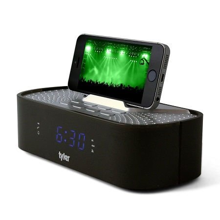 Tyler Bluetooth Alarm Clock Radio with Stereo Speaker, FM Radio, USB Charging, AUX Line-in - Black