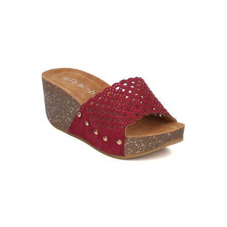 Women Faux Suede Platform Wedge - Perforated Rhinestone Sandal - Footbed Slide - GI45 By Alrisco