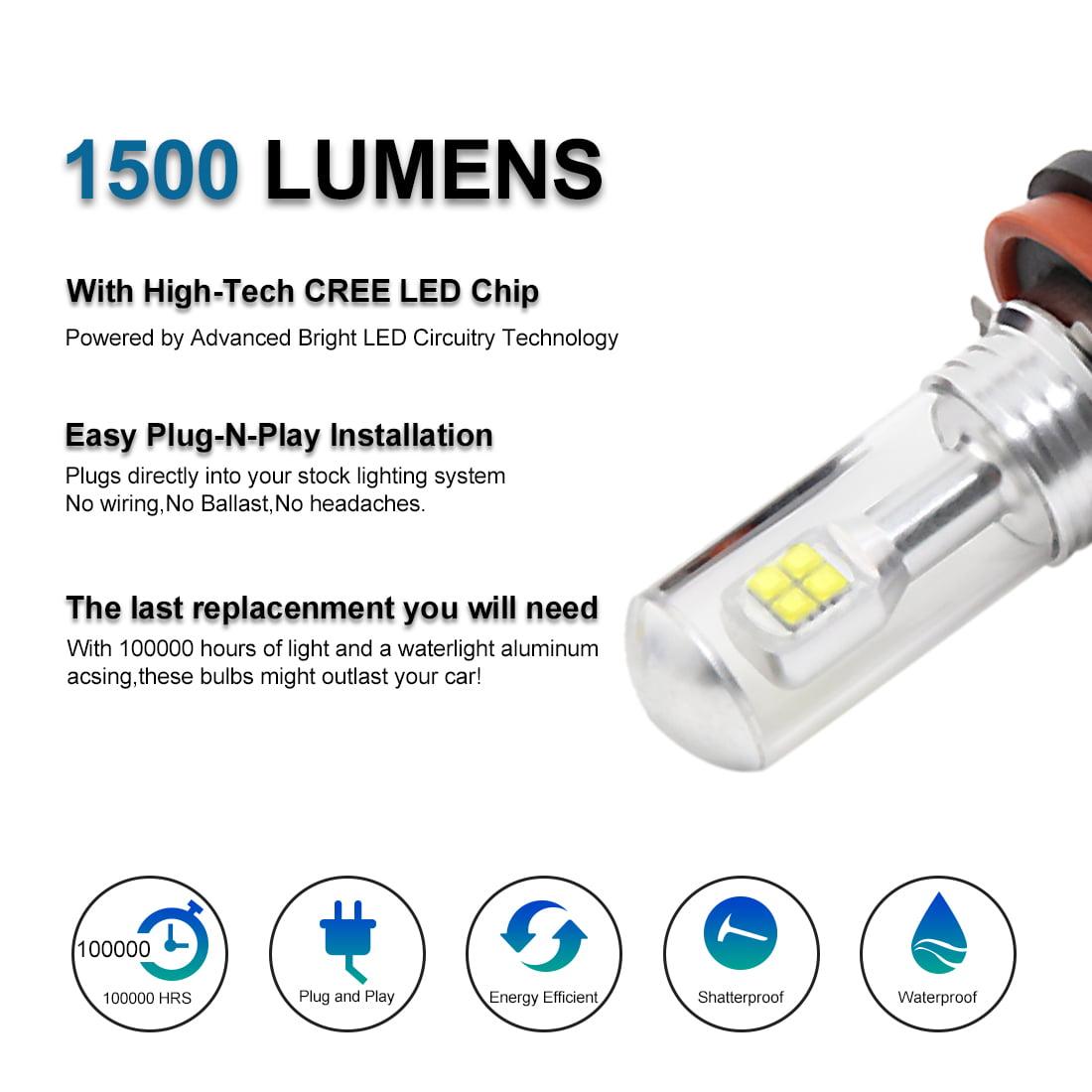 2 Pcs H11 White 8 Led Car Fog Driving Daytime Running Light Bulb Lights Wiring Instructions 6000k 12 24v