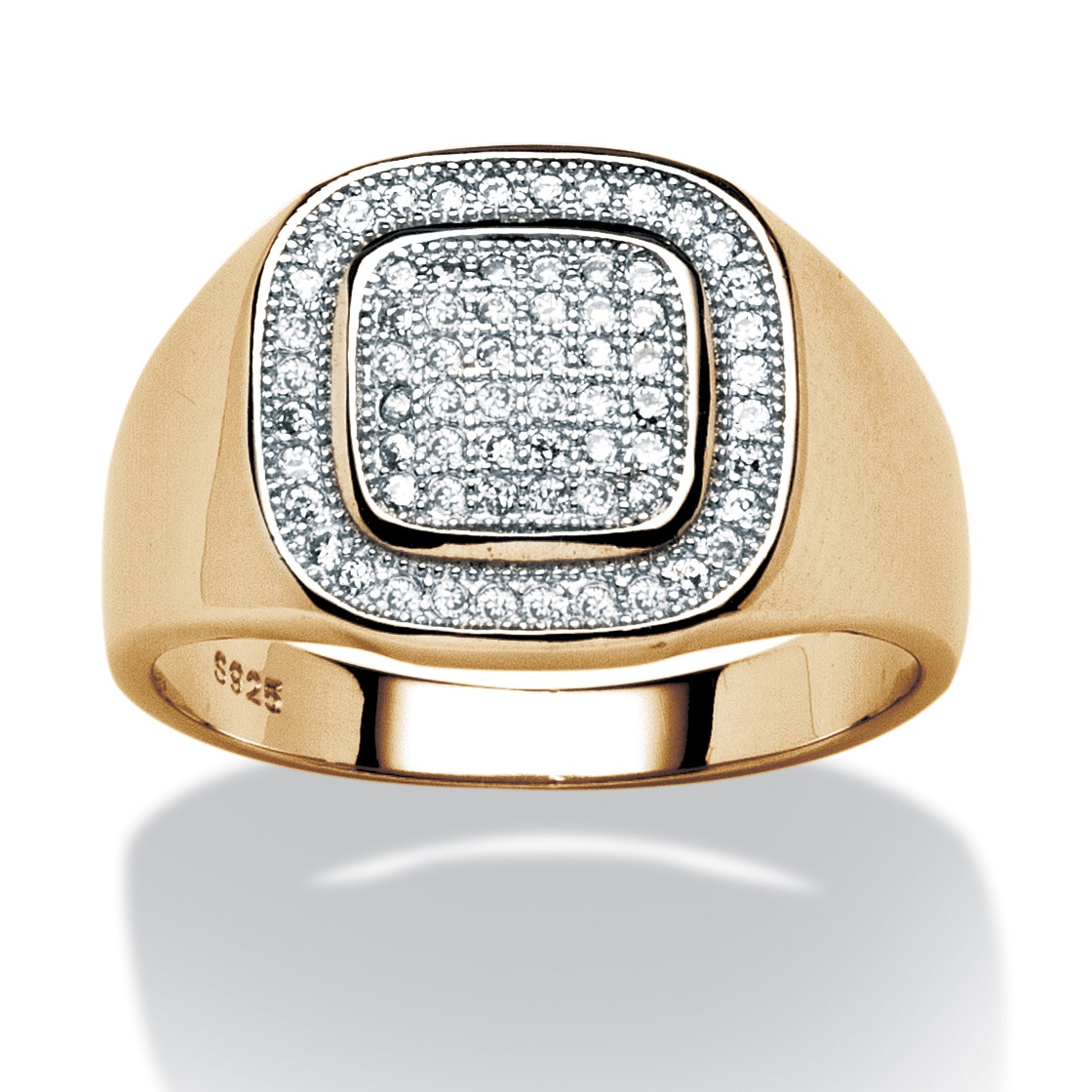 Men's .34 TCW Cubic Zirconia Ring in 18k Gold over Sterling Silver