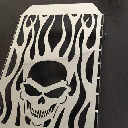 Skull Grille - HTT-MOTOR Skull Flame Radiator Grille Cover Guard Protector For Kawasaki Vulcan VN 1500 chromed