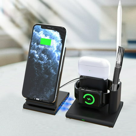 Charging Station for Multiple Devices - Wireless Charger - 4 in 1 Magnetic Charging Base for Phone, Watch, Apple Pen and Headphones - wide compatibility - Convenient and Practical - Black