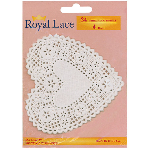 "Paper Doilies, 4"", Heart, 24-Pack, White"