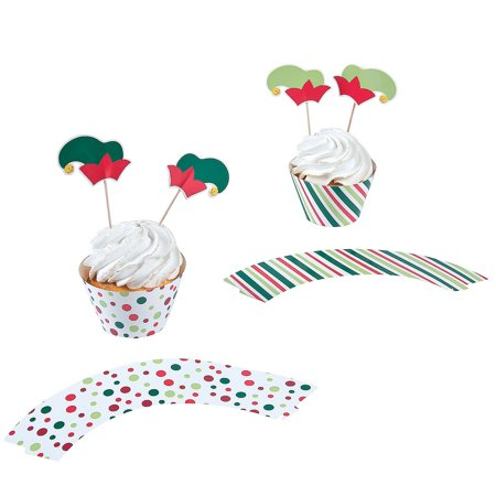 IN-13751069 Elf Party Cupcake Wrappers with Picks 100 Piece(s) 2PK (Napkin Wrappers)