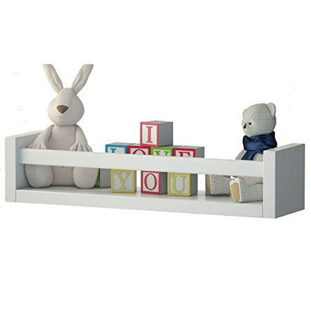 Nursery Wall Mount Floating Shelf Bookshelf Wood White