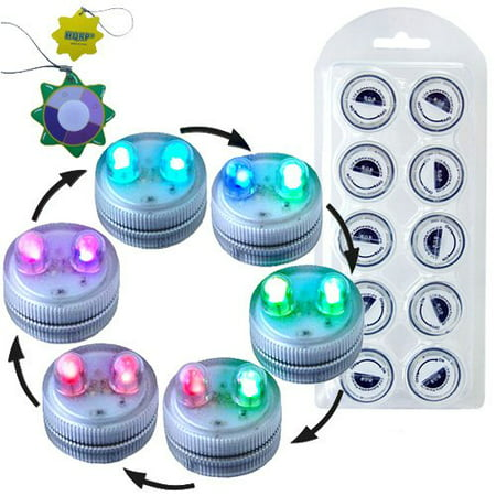 Submersible Collection - HQRP 10-Pack Super Bright Color Change / Multicolor Waterproof / Underwater Dual LED Illuminated Submersible Flameless Heatless Tea Light Candles for Wedding / Events / Holiday / Party / Light show