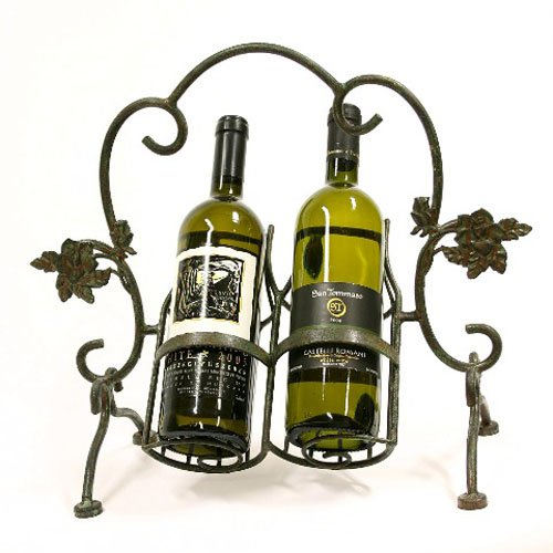 Creative Creations 4-Leg 2 Bottle Flower Bloom Iron Wine Holder