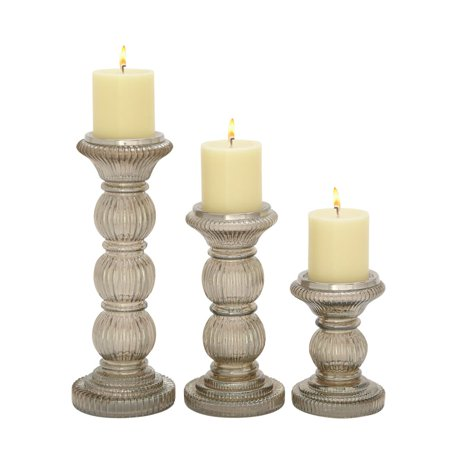 Unique Set Of Three Glass Candle Holder ()