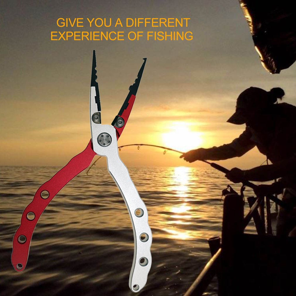 Aluminum Fishing Pliers Braid Cutter Split Ring Pliers With Sheath and Lanyard