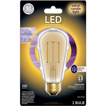 GE 25W Equivalent (Uses 2.8W) General Purpose A19 Vintage LED Bulb, 1-Pack