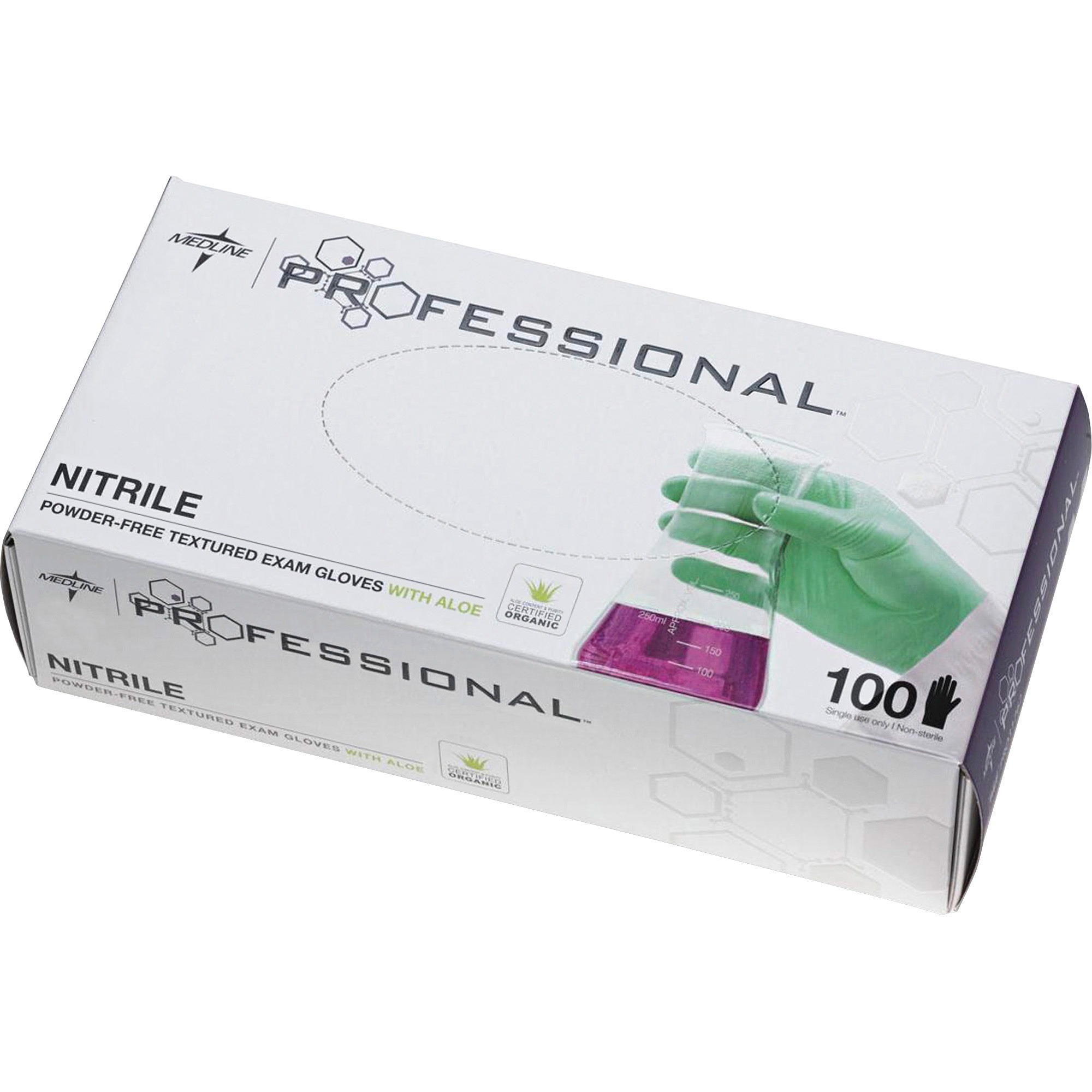 Medline, MIIPRO31764, Professional Series Aloetouch Gloves, 100 / Box, Green