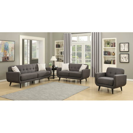 (Crystal Collection Upholstered Mid-Century 3-Piece Living Room Set with Tufted Sofa, Loveseat, and Arm Chair and 4 Accent Pillows, Charcoal)