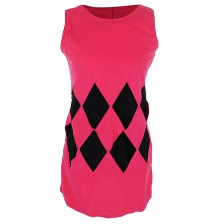S/M Fit Bright Hot Pink with Black Diamond Argyle Print Shift Dress ()