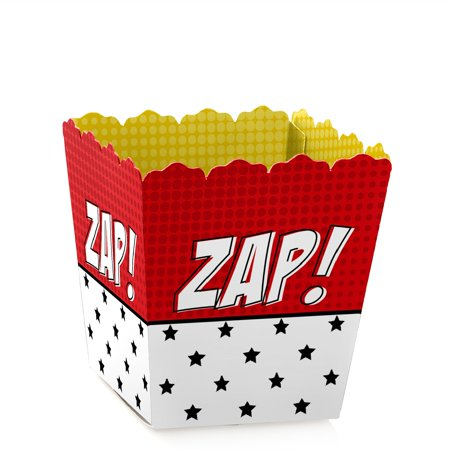 BAM! Superhero - Party Mini Favor Boxes - Baby Shower or Birthday Party Treat Candy Boxes - Set of 12