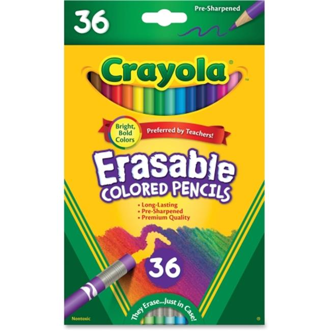 Crayola 681036 3.3 mm Erasable Colored Woodcase Pencils, Assorted - 36 Colors per Set