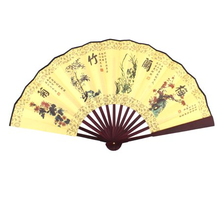 Summer Bamboo - Man Bamboo Ribs Flower Chinese Poems Pattern Summer Folding Cooling Hand Fan
