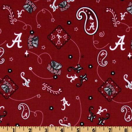 Collegiate Cotton Broadcloth University Of Alabama Bandana Red