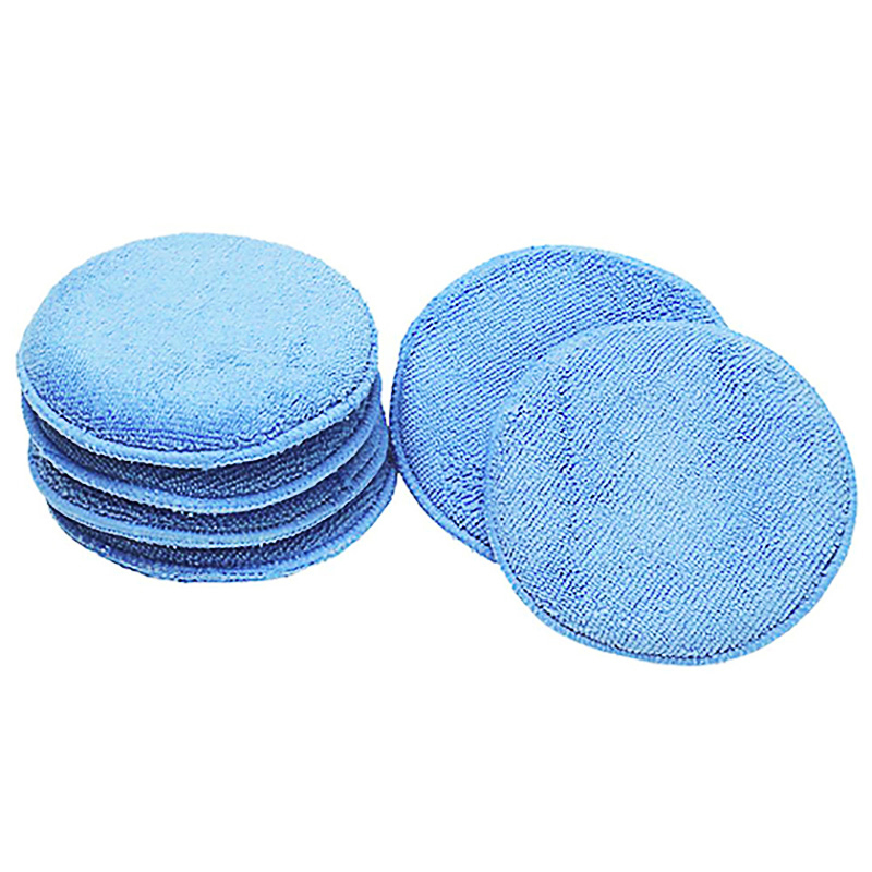 12.5cm Ultra-soft Round Microfiber Wax Applicator Pads for Car Polish, Light Blue by Redcolourful