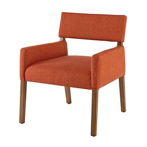 Mid Century Modern Orange Upholstered Wood Accent Lounge Dining Side Arm  Chair   Includes Modhaus Living