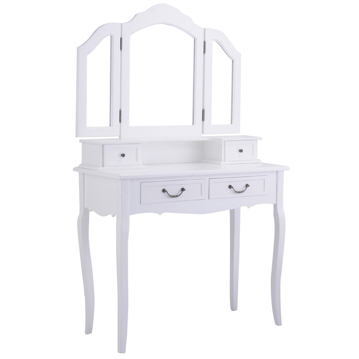 Amazing Tri Folding Mirror White Wood Vanity Set Makeup Bathroom Table Dresser 4  Drawers + Stool   Walmart.com