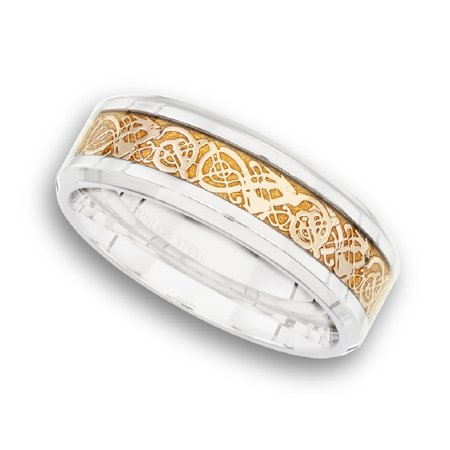 Stainless Steel Two Tone Ring - Men's Stainless Steel Two Toned Textured  Ring Sizes 7 - 12 Father's Day Gift