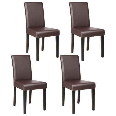 Mecor Upholstered Dining Chairs Set of 4, Kitchen PU Leather Padded Chair w/Solid Wood Frame Dining Room Furniture (Brown)
