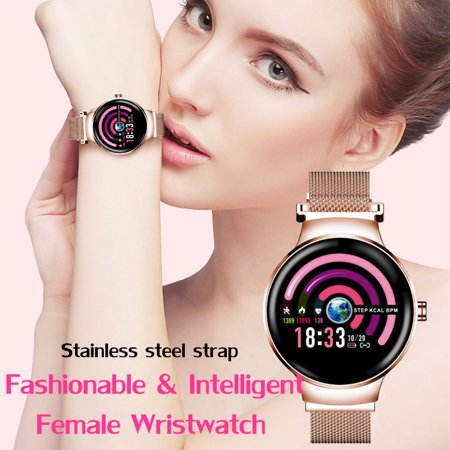 Fashion Elegant Smart Watch Stainless Steel Bracelet for Women Support Sleep Monitor,Blood Pressure Monitor,Multiple Sport Mode,Predict Menstrual Cycle,Smart Reminder,Calories,Step