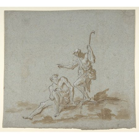 A Shepherd Addressing A Seated Male Nude Poster Print By Alessandro Magnasco  Italian Genoa 1667 1749 Genoa   18 X 24