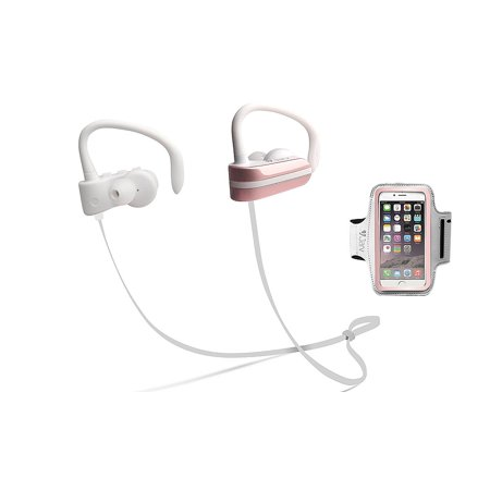 Jarv MACH 1 Sport Wireless In-Ear Bluetooth Headphones with Universal Sports Armband, Rose Gold (Headphones Armband)