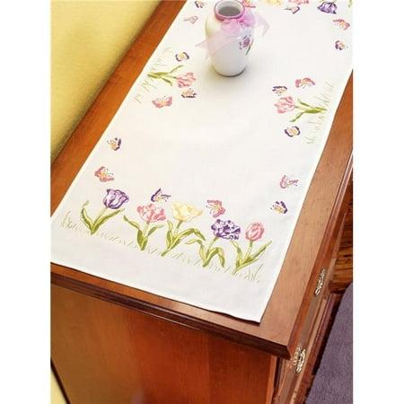 Tulip Garden Dresser Scarf Stamped Embroidery, 14