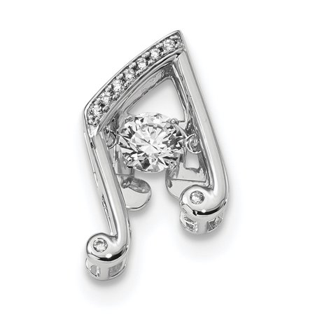 925 Sterling Silver Platinum Plated Vibrant Swarovski Zircon Music Note Necklace Pendant Charm Slide Omega Musical Cz Gifts For Women For -