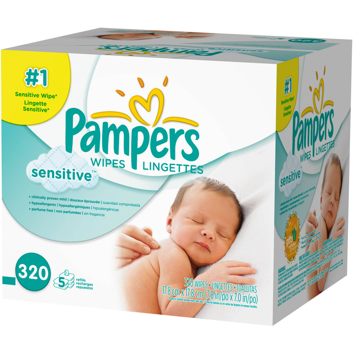 Pampers Sensitive Baby Wipes Refills, 320 sheets
