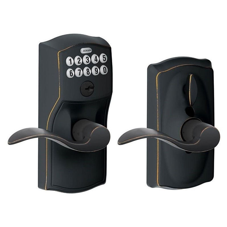 Schlage FE595-CAM-ACC Camelot Keypad Entry with Flex-Lock Door Lever Set with Accent Interior Lever