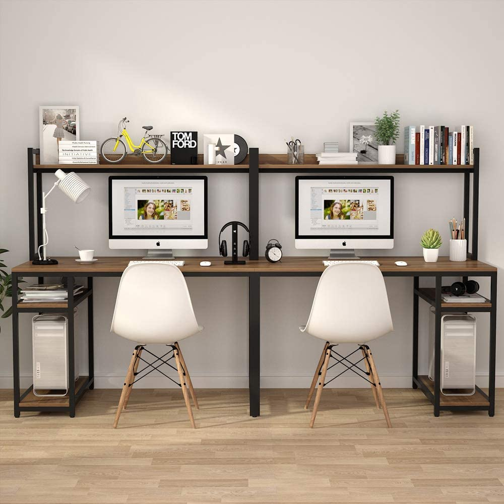 Tribesigns 94 5 Inches Computer Desk With Hutch Extra Long Two Person Desk With Storage Shelves Double Workstation Office Desk Table Study Writing Desk For Home Office Dark Walnut Walmart Com Walmart Com