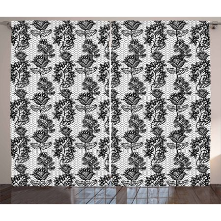 Black and White Curtains 2 Panels Set, Lace Style Victorian Flower Motifs  on Wavy Backdrop Western Girls Pattern, Window Drapes for Living Room ...