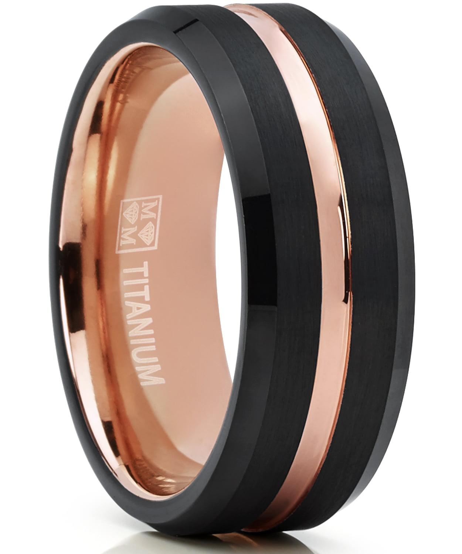 Titanium Grooved Beveled Edge 8mm Brushed And Polished Band Size 9